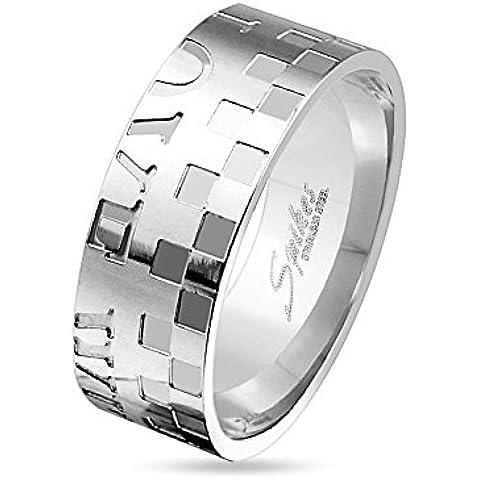 Paula & Fritz® Anillo Plata de acero inoxidable acero quirúrgico 316L 6o 8mm de ancho Ajedrez patrón y texto Love disponibles Ring tamaños 47(15)–69(22) R de m3179
