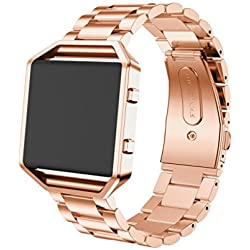 JACKY Stainless Steel Watch Band Band Strap + Metal Frame For Fitbit Blaze Watch Rose Gold