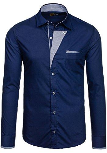 BOLF – Chemise casual – avec manches longues – BOLF 4713 – Homme Bleu foncé