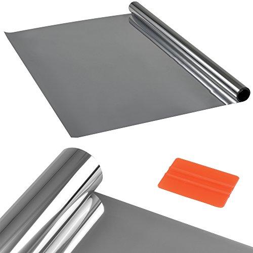 [casa.pro] película protectora adhesiva Plata / efecto espejo (75cm x 2m) espátula /raspador incluido película protectora vidrio esmerilado