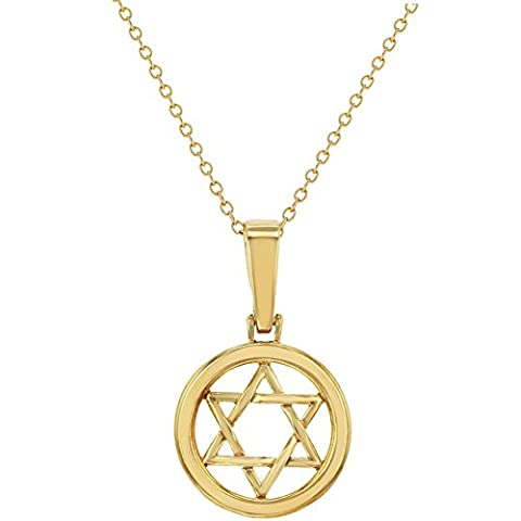 18k Gold Plated Jewish Star Star Of David Medal Pendant
