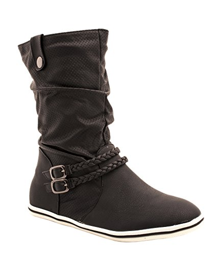 Flache Damen Schlupfstiefel bequeme Stiefel Boots (38, Schwarz-Weiß) (Schwarze Und Weiße Stiefel)