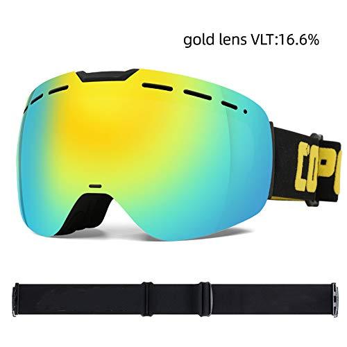 KTUCN Rahmenlose Skibrille mit Magnetscheibe Skateboard Skifahren Anti-Fog UV400 Snowboardbrille Herren Damen Skibrillen Brillen, Gold