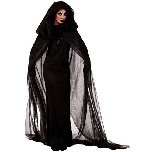 Damen Geisterbraut Hexen Vampir Böse Königin Lange Cosplay Kleid + Lange Vampir Umhang mit Kapuze +1 Paar Handschuhe Halloween Kostüm Karneval Fasching Erwachsene Kleider Abendkleid Schwarze (Lila Und Schwarze Fee Kostüm)