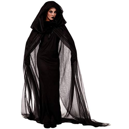 Kostüm Vampir Vintage - Damen Geisterbraut Hexen Vampir Böse Königin Lange Cosplay Kleid + Lange Vampir Umhang mit Kapuze +1 Paar Handschuhe Halloween Kostüm Karneval Fasching Erwachsene Kleider Abendkleid Schwarze Piebo