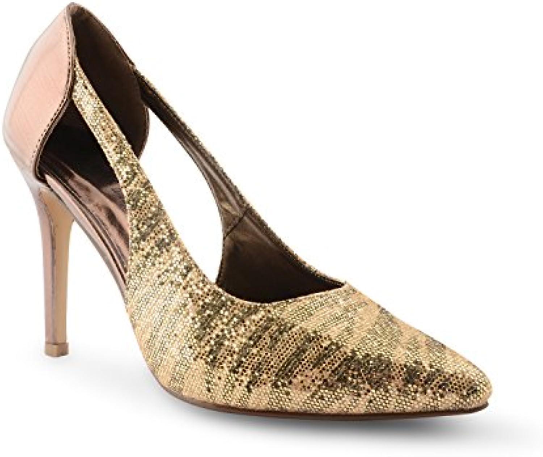 Footwear Sensation Nueva mujer alta Stiletto talón punta Toe Diamante para Mujer Noche boda Cut Out sandalias... -