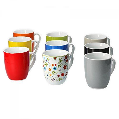 Van Well 6er Set Kaffeebecher Serie Vario Porzellan – Farbe wählbar, Farbe:beige