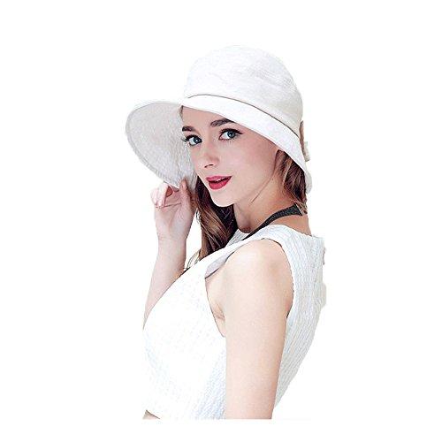 Femmes Fil Mode Plage Été Extérieur Large Rebord Pliage Décoration Bowknot Coton Chapeau De Soleil Beige