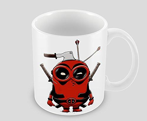 Hiros®Minion Deadpool themed 11oz Ceramic Mug - Minions with our favorite Mouthy Mercenary Deadpool - Minions Gift Mug , Christmas Gift Idea.