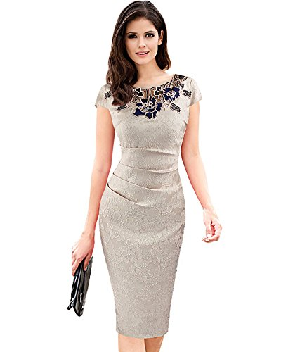 Whoinshop Damen Elegant Rose Rundhals Spitze Stitching Kleid Business Etui Partykleid Festkleid Cocktailkleid Beige XXL