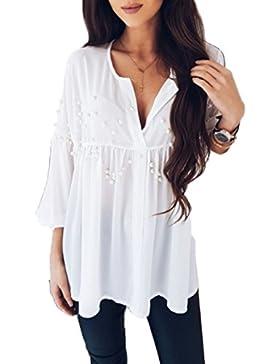 JQLampe Verano Mujer T Shirt Camisas Remata Moda Cuello V Rebordear Camisetas de Manga Larga Top Casual Pliegues...