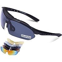 Carfia Multi TR90 UV 400 Outdoor Sport Brille Polarisiert Sonnenbrille Radbrille mit 5 wechselbare Linsen für Skilaufen Golf Radfahren Laufen Angeln Baseball