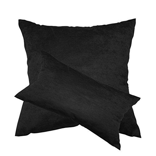 Qool24 Wildleder-Optik Kissenbezug mit Reißverschluss Kissenhülle Kissenbezüge 8 Farben und 6 Größen Schwarz 35x35 cm -