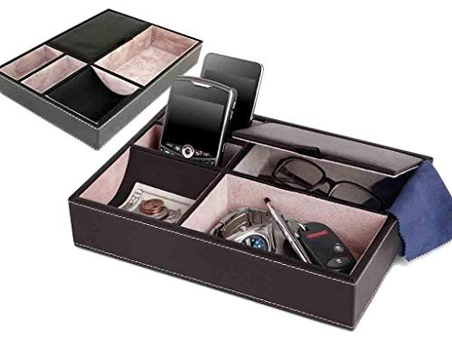 Esta bandeja de 5compartimentos se puede usar para su electrónica, dinero, joyas, llaves y más. Gran organización de producto para usar en, y table-tops de la mesita de noche. 5compartimentos para teléfonos móviles, relojes, carteras, llaves, moned...