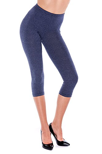 Jean Leggings (Dykmod Damen Leggings Leggins 3/4 Capri Sommer mf3,  Jeans - 44 / XXL)