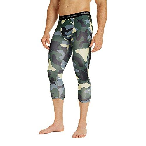 Coolomg compressione pantaloni da corsa a 3/4aderenti pantaloni capri leggings 20+ colori/modelli shorts primo strato, disponibile ad asciugatura rapida per uomo da ragazzo Green Camouflage(3/4 length)