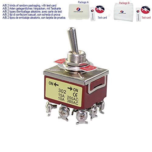2 Stück CE-EIN-/EIN-Kippschalter, 3 Pole, Doppel-Werf, 10 A, 250 VAC, 3 PDT, 2 Positionen, 9 Pin, 12 mm Verriegelungsfunktion, strapazierfähig, elektrisch