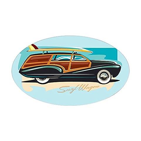 CafePress - Surf Wagon Woody Rectangle Sticker - Oval Bumper Sticker Car Decal