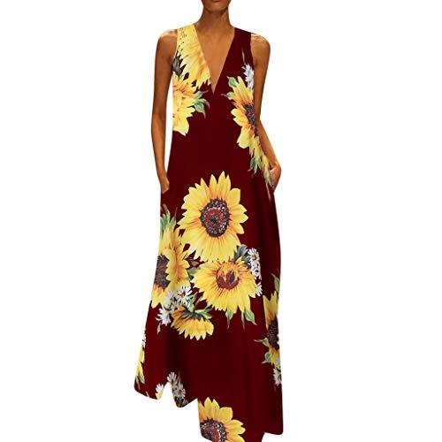 MAYOGO Kleid Damen Sommer Lang Elegant Schick Große Größen Ärmellose Maxikleid Schmetterling Muster Casual Cool Leichte Kleider mit Tasche S-5XL - Frauen Kleider Für Western