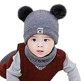 Y56 Winter Warm Crochet Strickmütze Beanie Cap Schal Set Neugeborenes Kleinkind Kinder Mädchen Jungen Baby Pom Hut Kappen Häkelstrick Wintermütze (Grau)