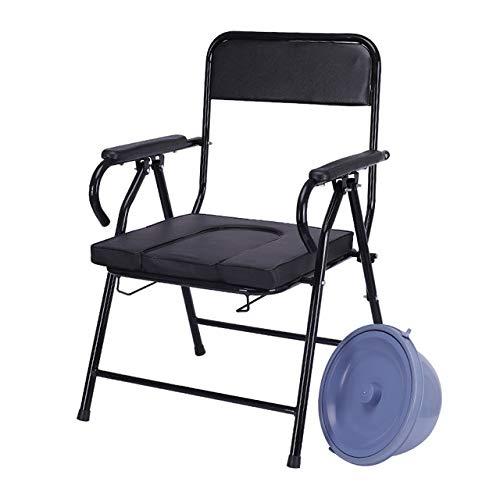 GEER Faltbarer Hygienischer Toilettenstuhl, Toilettenstuhl schwarz Toilettenhilfen für Pflege Toilettenrollstuhl Aluminium, für Erwachsene Handicap Senioren mit Deckel