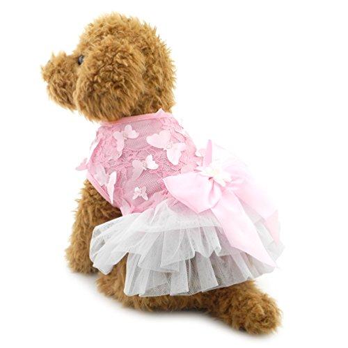 (smalllee _ Lucky _ store klein Hund Schmetterling Prinzessin Kleid Party Formale Kleid Tutu Rock mit Schleife Haustier Sommer Kleidung)