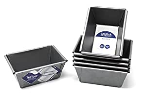 Mini Loaf Tins, Set of 6, British Made with Teflon Non Stick by Lets Cook Cookware