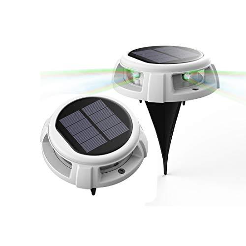 Solar-Bodenleuchte, Veofoo RGB-Solar-Gartenleuchten - 4 LED-Atem-RGB-IP68-Außenleuchten, wasserdichte Sicherheitsleuchten, Landschaftsbeleuchtung für Rasen, Hof oder Schwimmbäder (2piece)