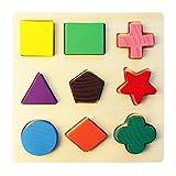 Hamkaw Puzzle Forme Geometriche Set di Giochi Incastro Geometrico in Legno Giocattoli per Educazione della Prima Infanzia C