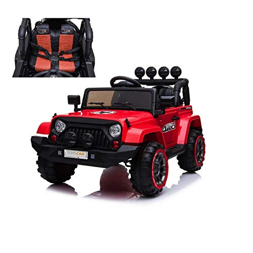 TOYSCAR electronic way to drive Auto Macchina Elettrica per Bambini Jeep Adventure 12V MP3 LED con Telecomando Full Optional Sedili in P