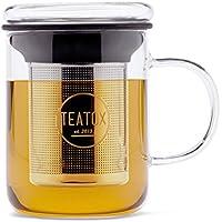 TEATOX Glass Tea Mug, taza con colador de té en acero inoxidable y una tapa de cristal, 350ml
