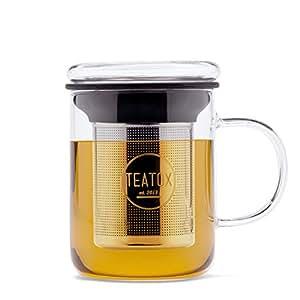 TEATOX® Glass Tea Mug, Teetasse aus Glas mit Sieb, Deckel und Henkel, 350ml