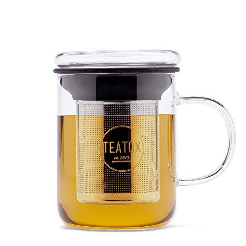 TEATOX Glass Tea Mug, tasse avec couvercle en verre et filtre en acier affiné, 350ml