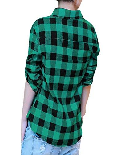 Allegra K Femmes Boutonnière Manches Longues Point Col Plaids Coupe Boyfriend Chemise Vert