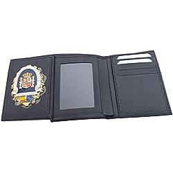 Tiendas LGP- Cartera Portaplaca de Piel- Seguridad Privada, Billetero Tarjetero, Color Negro