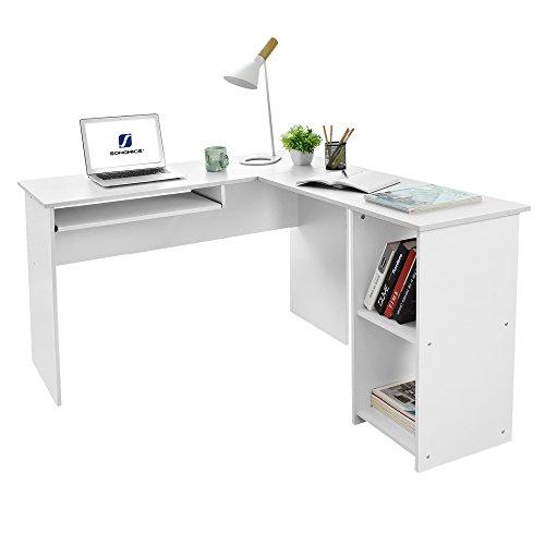 SONGMICS Schreibtisch Computertisch Eckschreibtisch Große Bürotisch weiß 140 x 120 x 75 cm LCD810W (Groß Computer-schreibtisch, Kleiner)