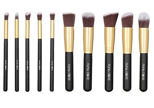 Puna Store Makeup Brush Set, 10 Pieces with Black Leather Case