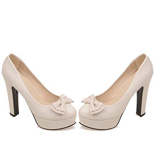 VogueZone009 Femme Pu Cuir à Talon Haut Rond Couleur Unie Tire Chaussures Légeres Beige