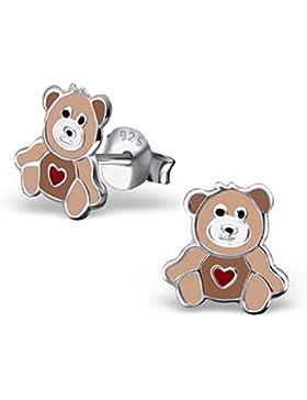 Laimons Kids Kinder-Ohrstecker Kinderschmuck Teddybär Herz Braun, Rot Sterling Silber 925