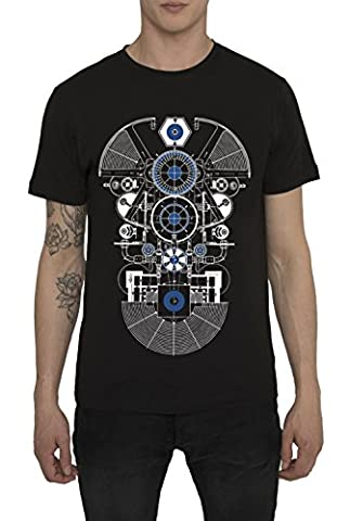 Mens Designer Cool Vintage Rock Band Style Black Metallic Print T Shirts - BLUE AMATEUR Trendy Urban - Street Fashion Gothic Design Tee Shirts 100 Cotton Jersey Crew Neck Tops for Men S M L XL XXL
