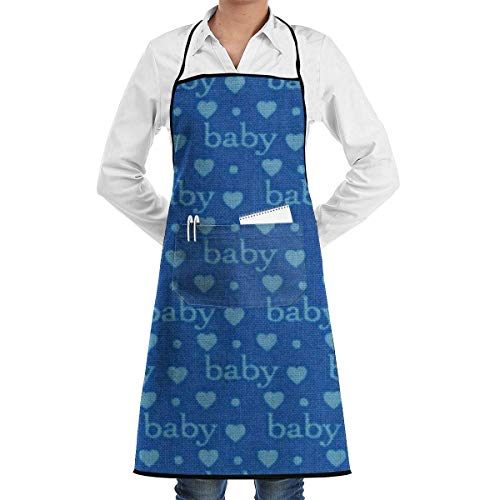 Baby Love Royal Blue Adjustable Apron with Pocket & Extra-Long Ties, Men and Women Kitchen Apron for Cooking, Baking, Crafting, Gardening, BBQ Sky Blue Mens Tie