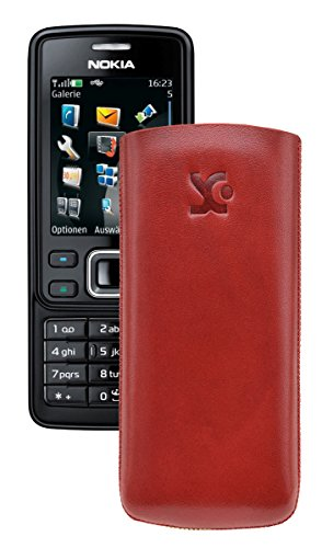 Suncase® Tasche für / Nokia 6300 - 6300i / Leder Etui Handytasche Ledertasche Schutzhülle Case Hülle *Lasche mit Rückzugfunktion* in rot
