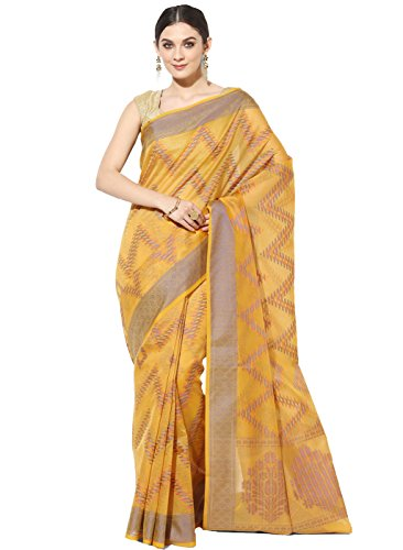 Banarasi Silk Works Supernet Cotton Saree With Blouse Piece(PTE102_Yellow_Free Size)