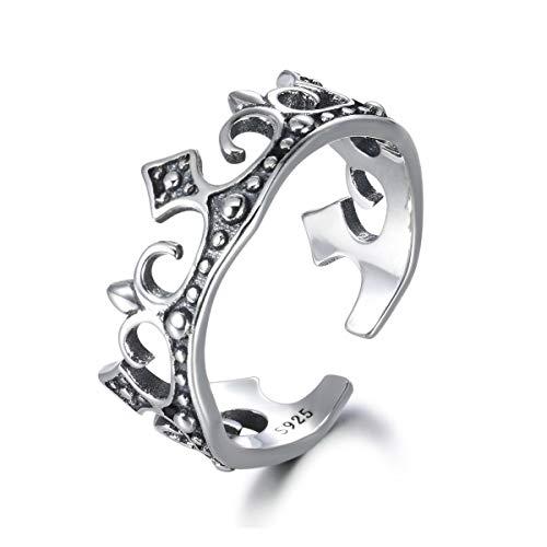 snorso 925Sterling Silber Prinzessin Queen Imperial Iris Krone Tiara Ring Boho Bohemian Band Bridesmaid Wedding Geschenk (Krone Midi Ring Sterling Silber)