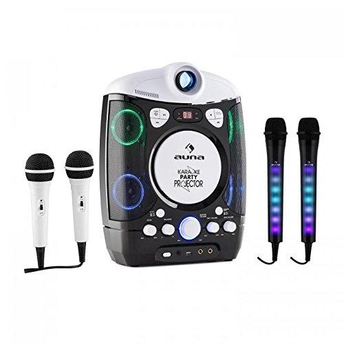 auna Kara Projectura con Set micrófonos Dazzl • Karaoke • Proyector LCD • Reproductor CD y USB • Compatible MP3 • Efecto Luces LED • Regulador Eco y Balance • Ajuste Volumen Independiente • Negro