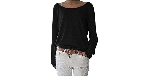 ZIOOER Femme Casual T-Shirt L/âche Automne Jumper Irr/égulier Manches Chauve-Souris Longues Pull-Over Tops Hauts Shirt