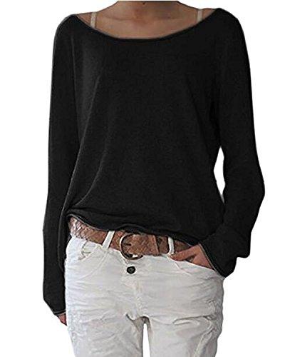 Damen Pulli Langarm T-Shirt Rundhals Ausschnitt Lose Bluse Hemd Pullover Oversize Sweatshirt Oberteil Tops Schwarz 2XL