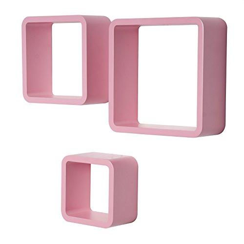 WOLTU RG9282rs Wandregal Cube CD Regal 3er Set Hängeregal Würfel, rosa