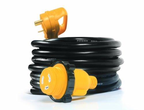 Camco 55501 PowerGrip 25 'Cord avec 30 Amp mâle Standard/30 Amp Femelle Verrouillage Adaptateur