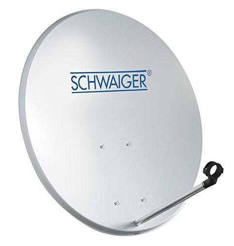 SCHWAIGER -128- Satellitenschüssel, Sat Antenne mit LNB Tragarm und Masthalterung, Sat-Schüssel aus Stahl, 55 x 62 cm